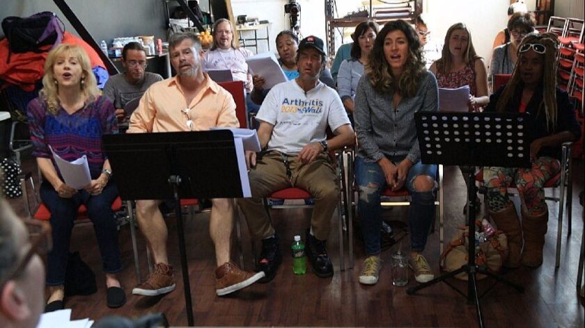 The Voices of Our City homeless choir rehearses at Living Water Church in downtown San Diego.