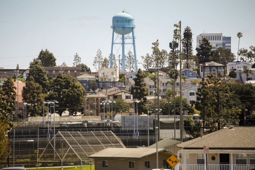 The water tower in El Segundo, a city that did not exist until Standard Oil arrived from the Bay Area in 1911. Nowadays, it is nearly invisible those who whiz past it on the coast route.