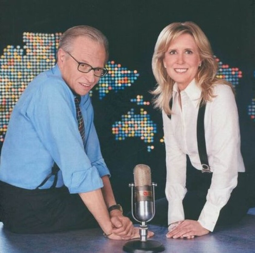 San Diegan Wendy Walker, right, produced the show of talk host Larry King from 1993 through 2010. He died Jan. 23.