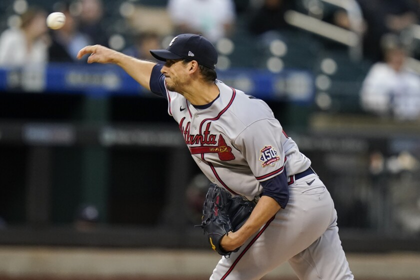 Atlanta Braves' Charlie Morton delivers a pitch during the first inning of a baseball game against the New York Mets Tuesday, June 22, 2021, in New York. (AP Photo/Frank Franklin II)