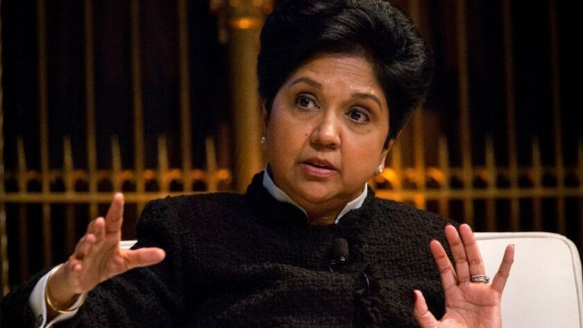 Pepsico CEO Indra Nooyi speaks at a March 27, 2018, CEO forum in New York. Her departure highlights the relative lack of female leaders — and particularly women of color — at the top of major corporations.