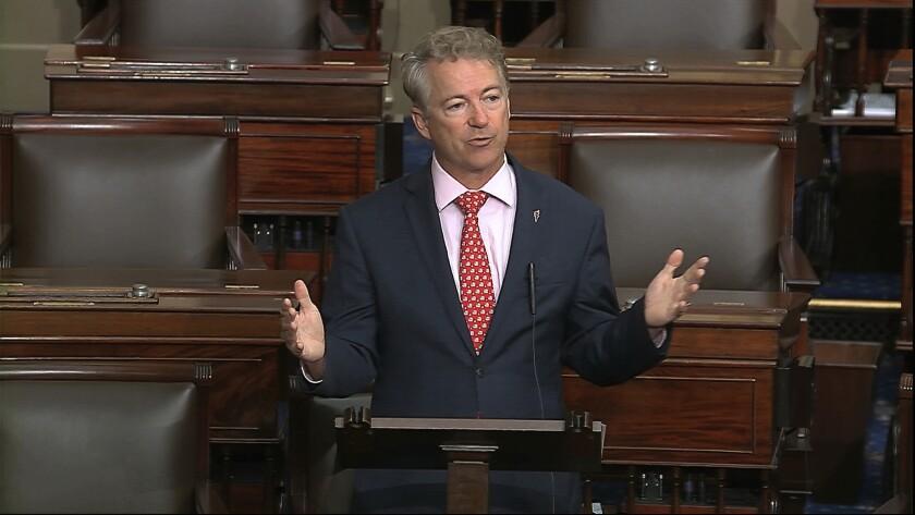 Sen. Rand Paul (R-Ky.) speaks on the Senate floor at the U.S. Capitol on Wednesday.