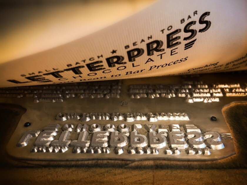 David Menkes, who owns and operates LetterPress Chocolate with his wife, Corey, was a graphic designer for many years before becoming a chocolate-maker.