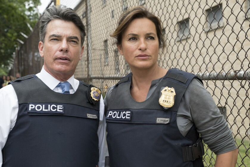 "Peter Gallagher and Mariska Hargitay in ""Law & Order: Special Victims Unit"" on NBC."