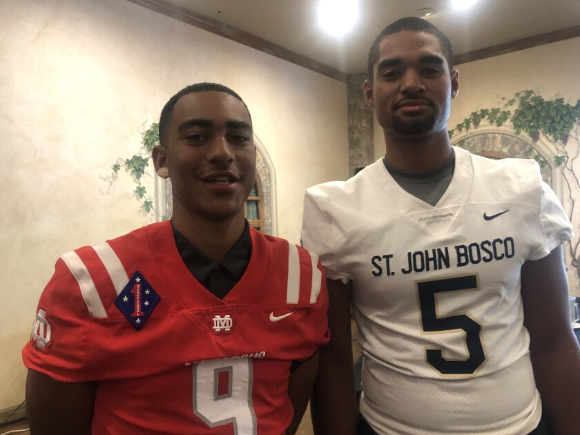 Quarterbacks Bryce Young (left, Mater Dei) and DJ Uiagalelei (St. John Bosco) both will be featured in early season TV games.