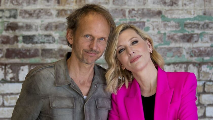 LOS ANGELES, CA OCTOBER 27, 2018: Portrait photo of actress Cate Blanchett, left, with artist Jul