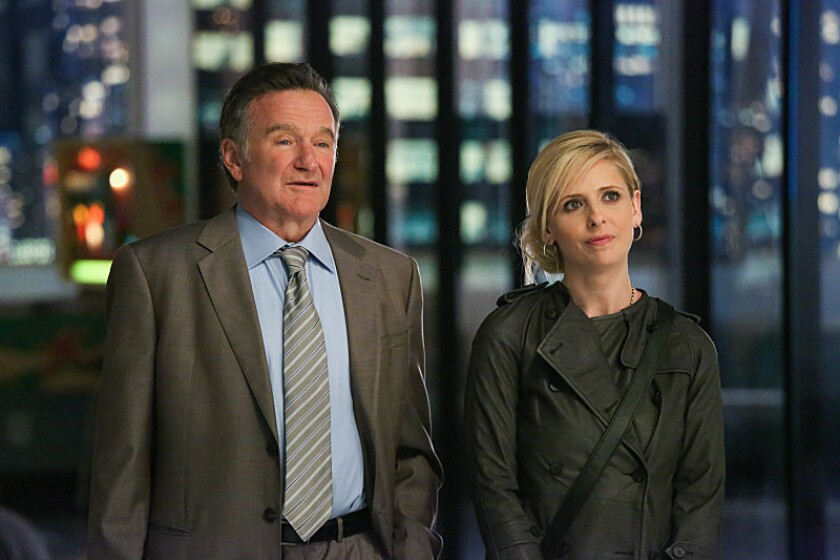 """Academy Award winner Robin Williams returns to series television in """"The Crazy Ones,"""" CBS' new comedy about a larger-than-life advertising genius. He's seen here with costar Sarah Michelle Gellar in the pilot episode."""
