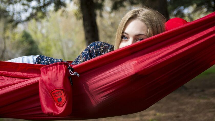 This ultra-weight hammock by Grand Trunk comes with a carrying case so it can go in a camping trip.