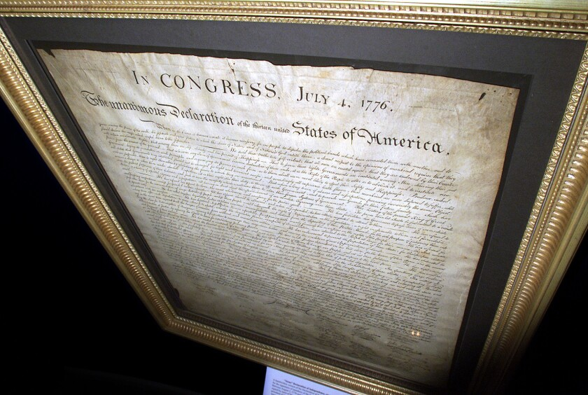 A framed copy of the Declaration of Independence.