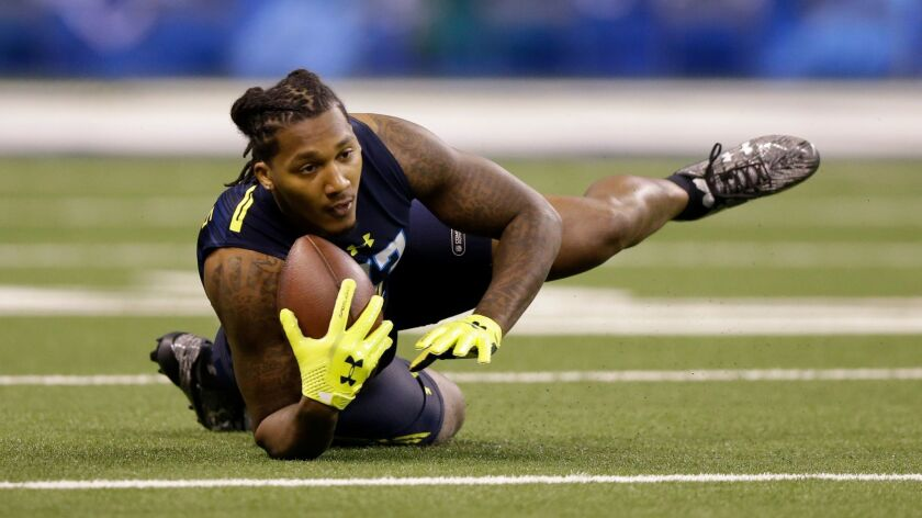 Miami (Fla.) safety Rayshawn Jenkins -- a fourth-round selection of the Chargers -- at the NFL football scouting combine in Indianapolis, Monday, March 6, 2017.