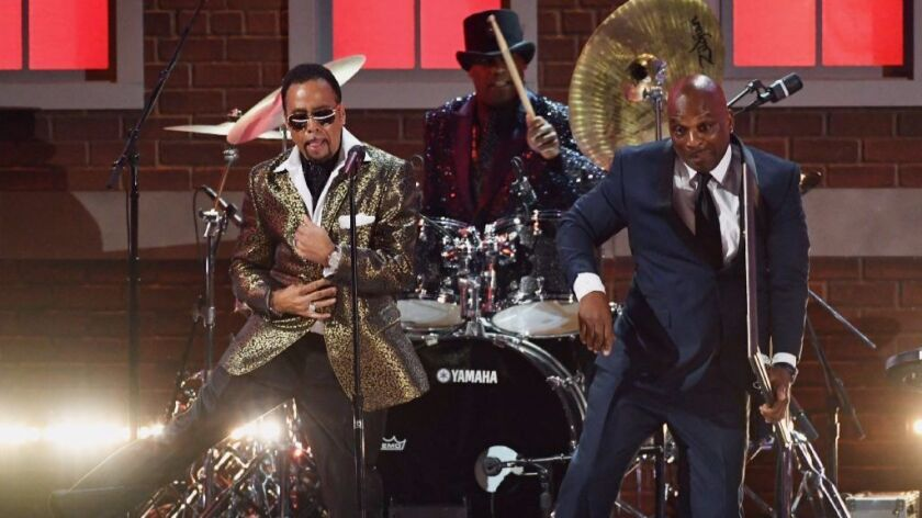 Morris Day (left), Jellybean Johnson and Jerome Benton of The Time perform at the 59th annual Grammy Awards on Feb. 12.