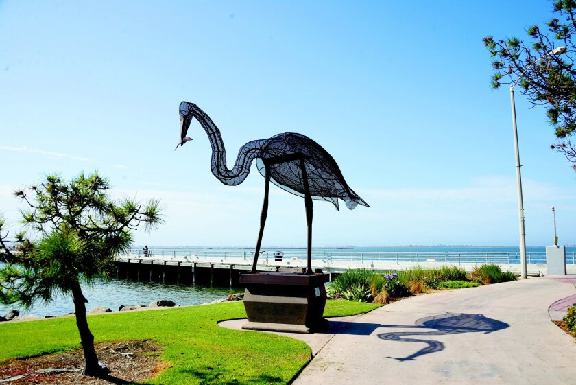 "Stephen Fairfield's ""The Fisherman,"" an homage to a great egret, is one of the Port District's public art installations in Chula Vista's Bayside Park. Priscilla Lister"