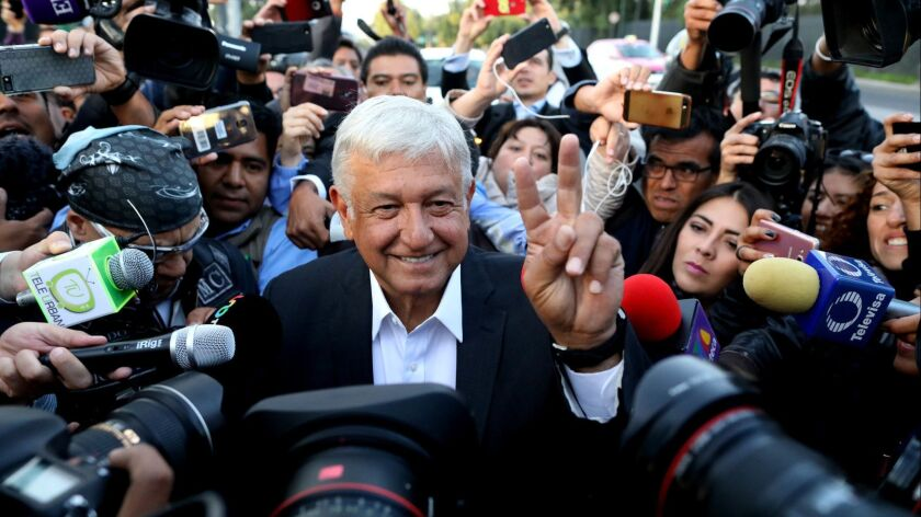 MEXICO CITY, -- SUNDAY, JULY 1, 2018: Presidential candidate Andrés Manual López Obrador is greeted