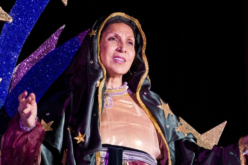 Suzanna Guzman as La Virgen in the Latino Theater Company's La Virgen de Guadalupe, Dios Inantzin. P
