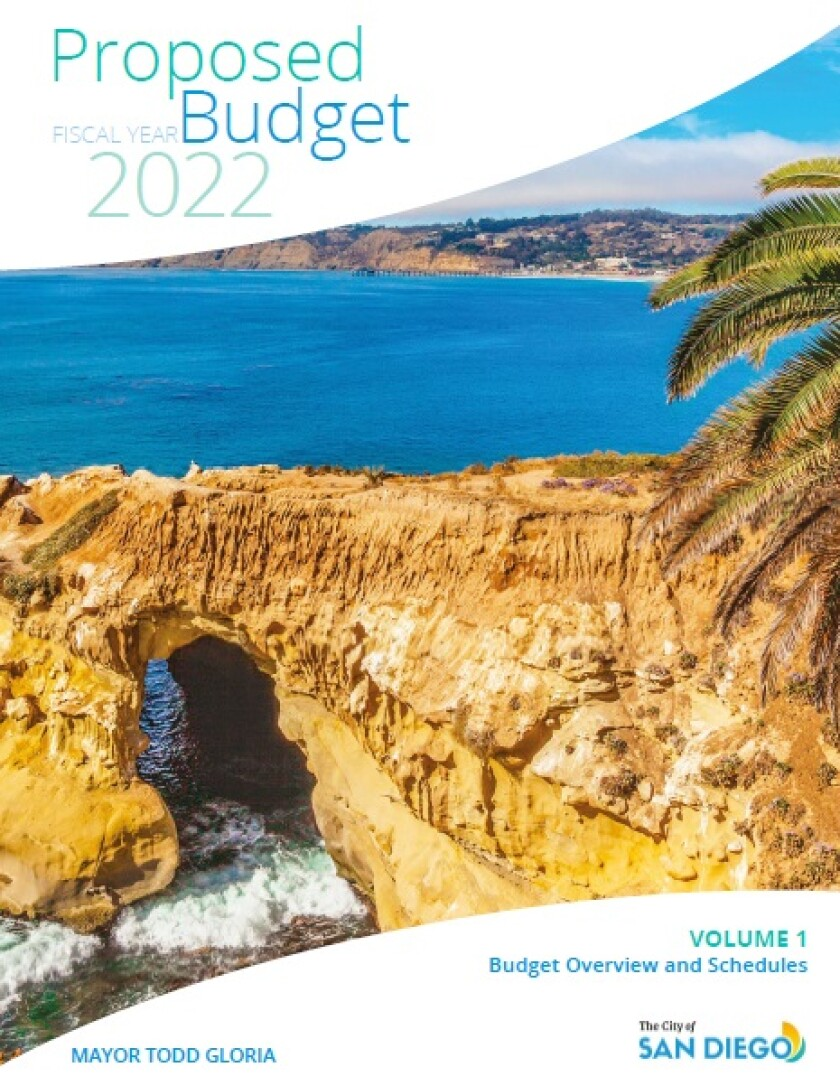 The cover of San Diego Mayor Todd Gloria's proposed budget for fiscal 2022 features a photo of Goldfish Point in La Jolla.