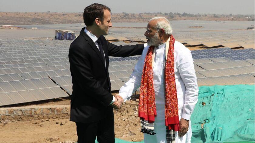 INDIA-FRANCE-POLITICS-SOLAR-ENERGY