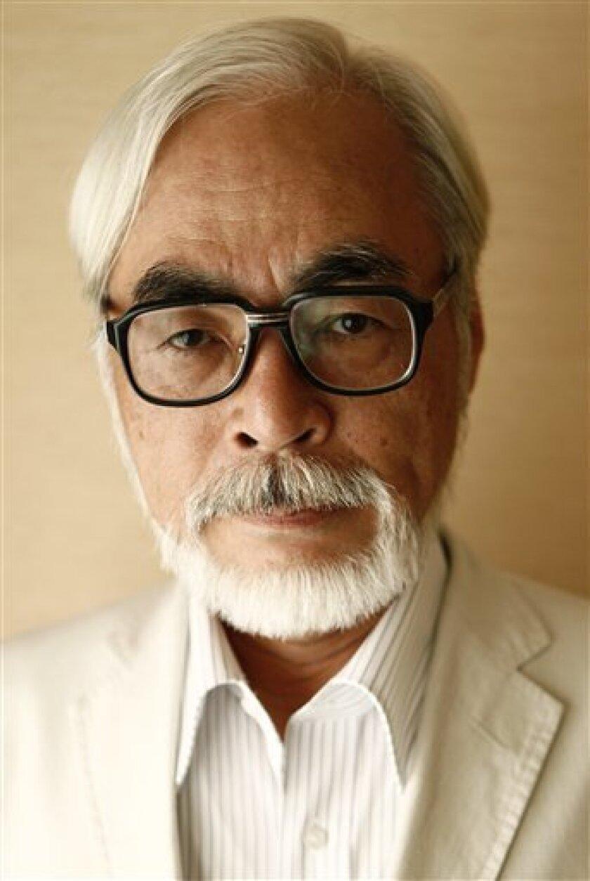 """Ponyo"" director Hayao Miyazaki poses for a portrait in Los Angeles on Tuesday, July 28, 2009. (AP Photo/Matt Sayles)"