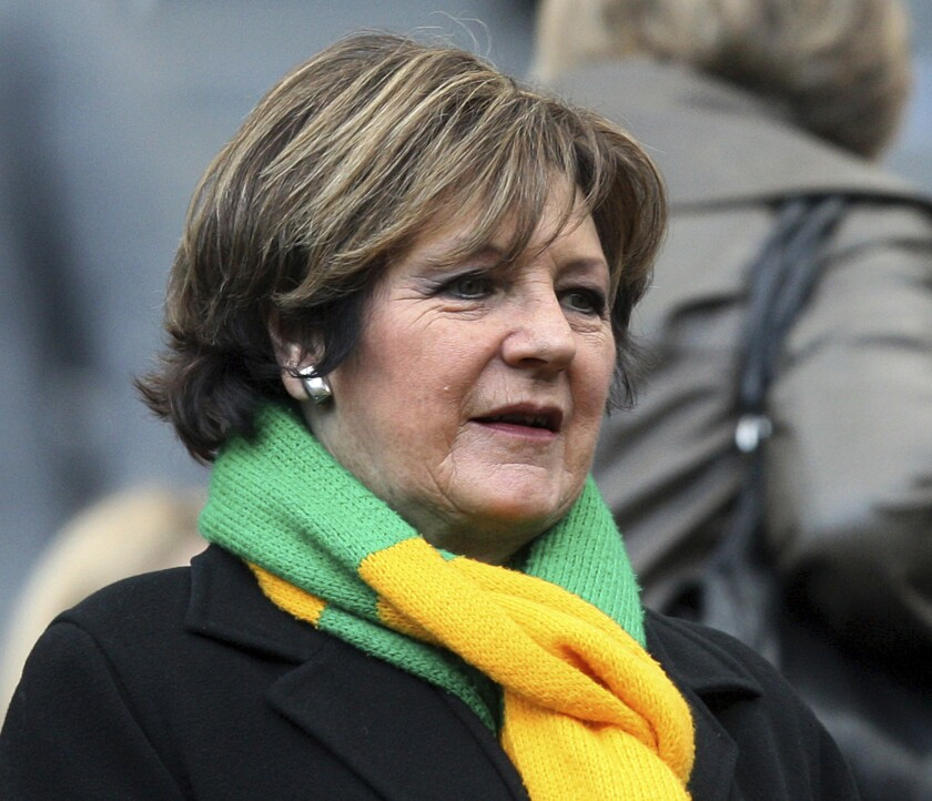 FILE - In this file photo dated Sunday, March 18, 2012, Norwich City's Delia Smith looks on ahead of English Premier League soccer match against Newcastle United at the Sports Direct Arena, Newcastle, England. The club under its TV chef owner Delia Smith will return to the English Premier League, assured of promotion with five games to spare on Saturday April 17, 2021.(AP Photo/Scott Heppell, FILE)