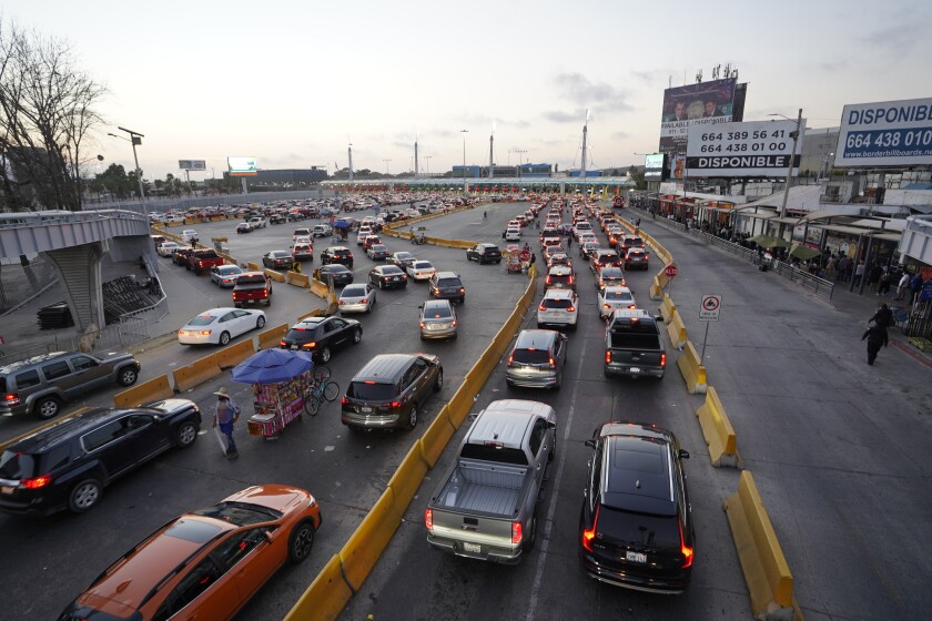 The vehicular border crossing from Tijuana to San Ysidro on Friday, March 19, 2021.