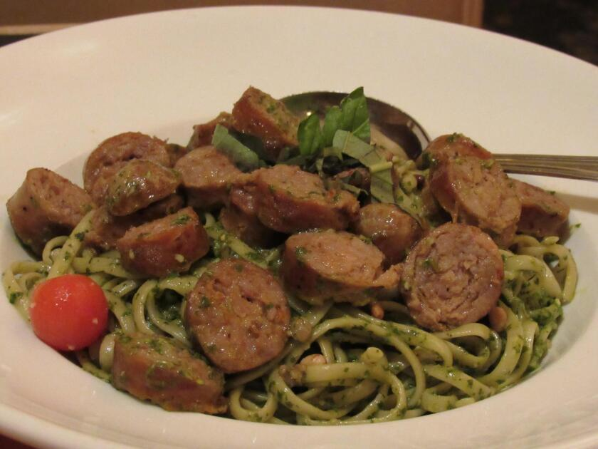 Pasta, Pesto and Sausage