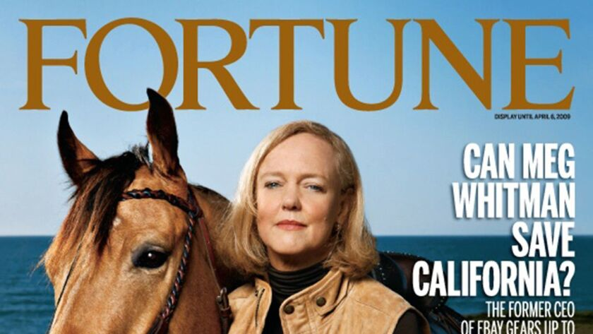 Meg Whitman on the cover of Fortune Magazine. For OPED piece.