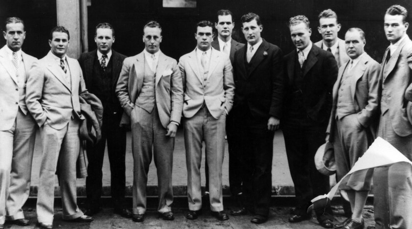 May 17, 1929: Group of current and former football players pose for Los Angeles Times photographer b