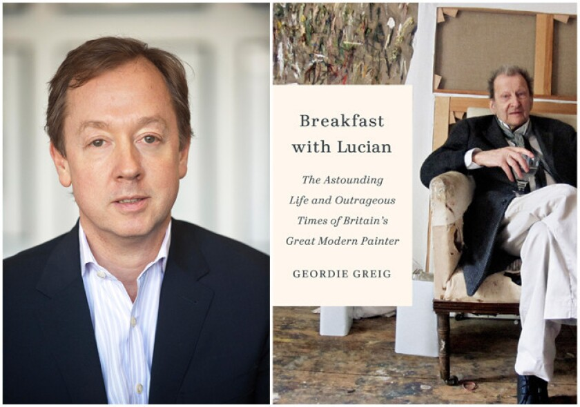 """Author Geordie Greig and the cover of his book, """"Breakfast with Lucian."""""""