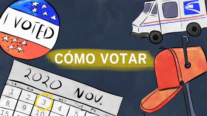 Las frase 'Cómo votar' acompañan objetos relacionados a las elecciones