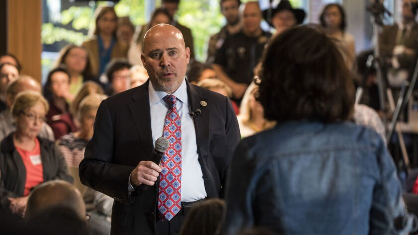 Rep. Tom MacArthur (R-N.J.) speaks to constituents during a town hall meeting in Willingboro, N.J., in May 2017.
