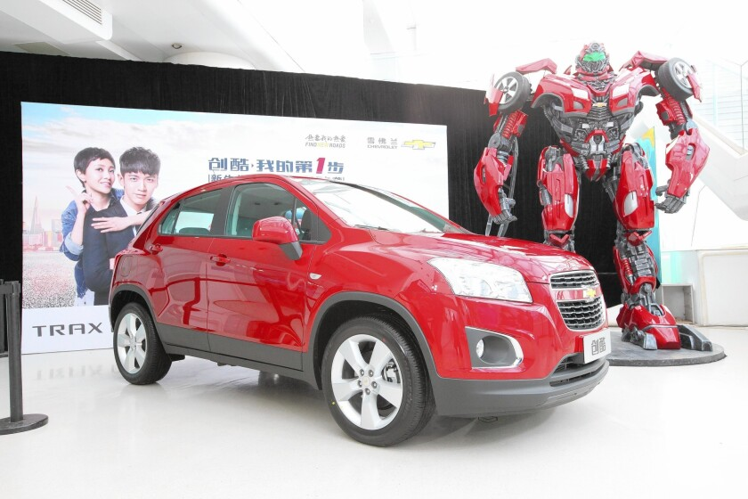 """The Chevrolet Trax, featured in the upcoming film """"Transformers: Age of Extinction,"""" is showcased at the Beijing Auto Show in April."""