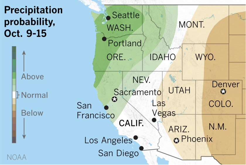 The extended outlook favors above-normal precipitation in Northern California.