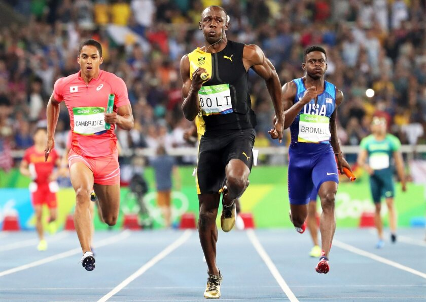 Usain Bolt on his way to winning the 4X100 relay final at the 2016 Olympic Games in Rio.