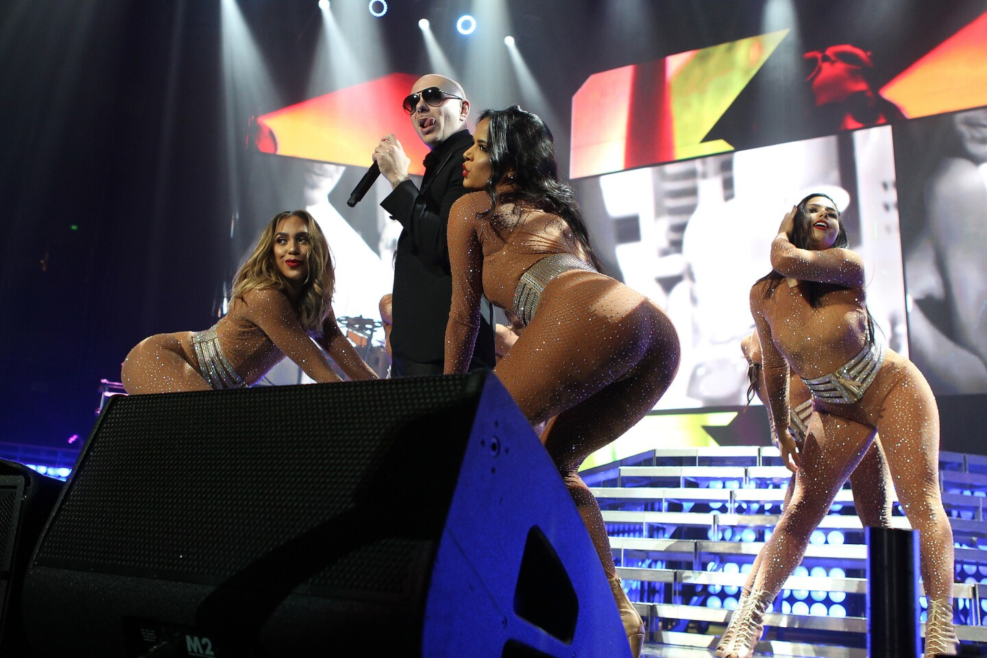PitBull performs onstage during The Bad Man Tour at The Forum on July 15, 2016 in Anaheim, CA. (Photo by © Art. Garcia/DDPixels.com)