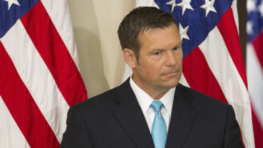 Kansas Secretary of State Kris Kobach helped lead President Trump's commission on voter fraud.