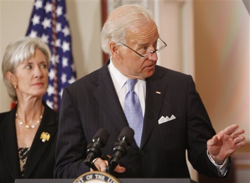 Vice President Joe Biden speaks about a White House deal with hospitals to help pay for President Barack Obama's overhaul of health care, Wednesday, July 8, 2009, in the Eisenhower Executive Office Building in Washington. At left is Health and Human Services Secretary Kathleen Sebelius. (AP Photo/Ron Edmonds)