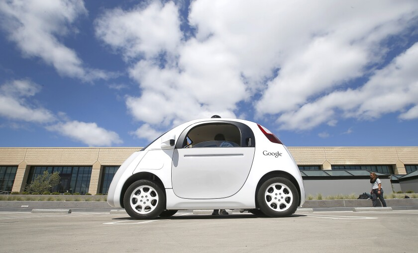 A prototype Google self-driving car is presented at the Google campus in Mountain View, Calif., on May 13.