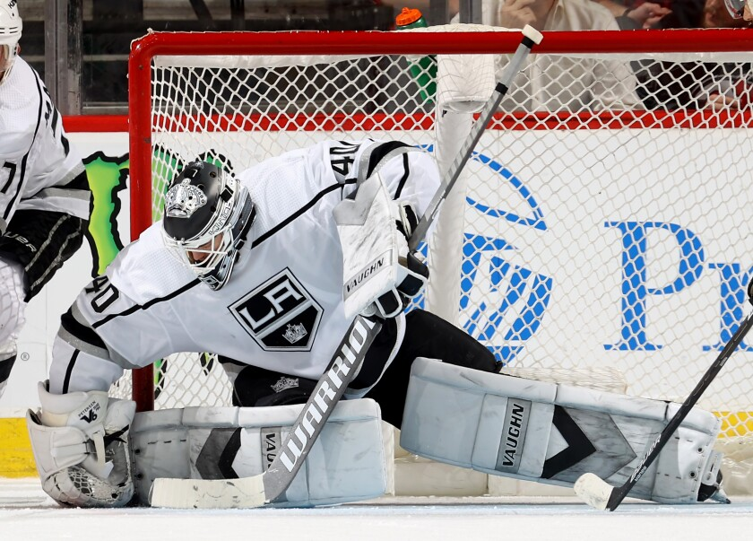 Kings goalie Cal Petersen stops a third-period shot against the Devils on Feb. 8, 2020, in Newark, N.J.