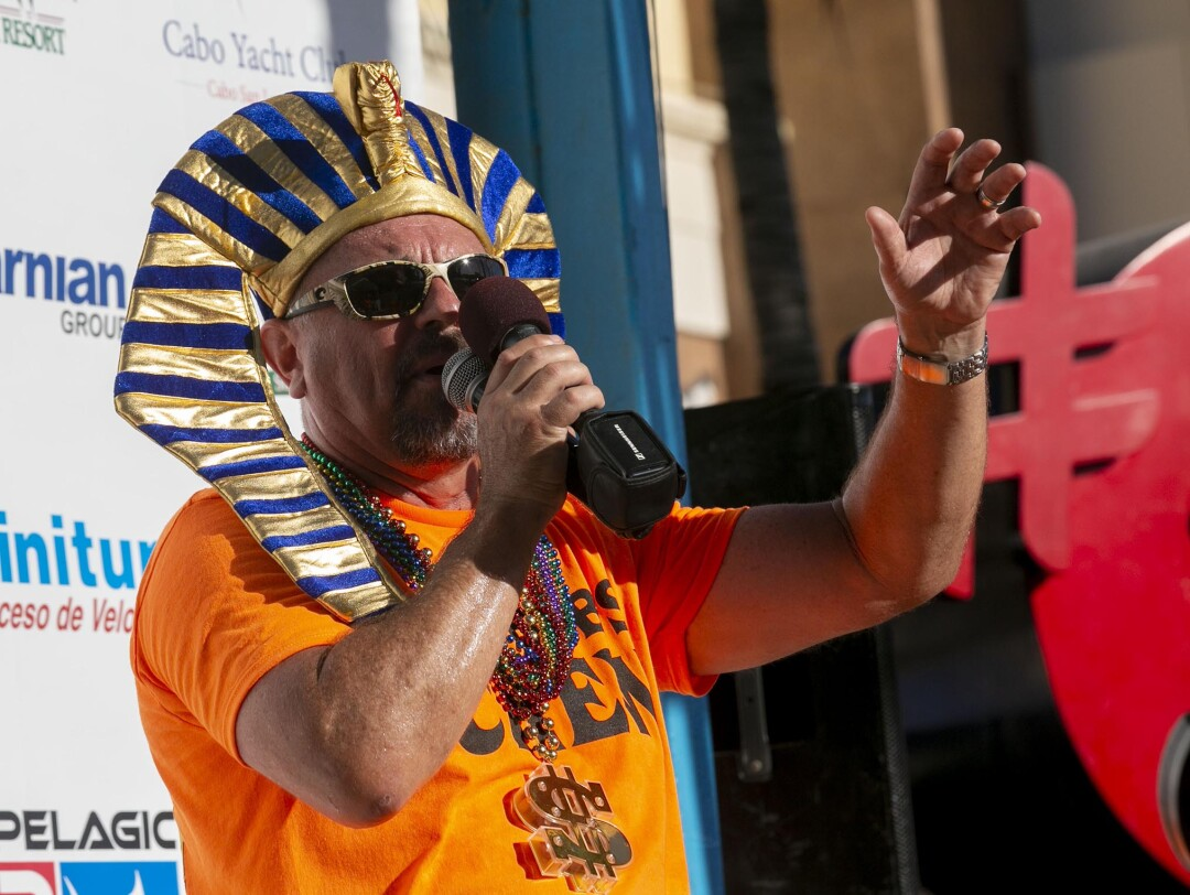 Wayne Bisbee, co-organizer of the Bisbee Black & Blue marlin fishing tournament is part showman and announcer. His father Bob Bisbee started the tournament almost 40 years ago.