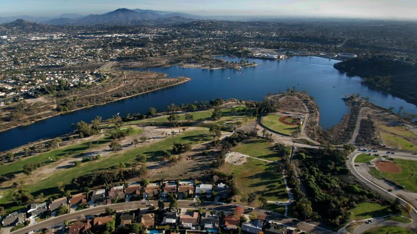 Lake Murray with San Carlos in the foreground and to the left.