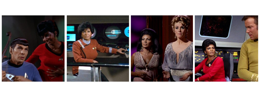 Four panels of photos of the same woman in different movie and TV roles