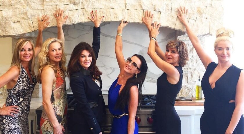 """Kathryn Edwards, second from left, invited her """"Real Housewives of Beverly Hills"""" cohorts to her second home in Rancho Santa Fe for lunch during a recent episode of the Bravo TV show."""