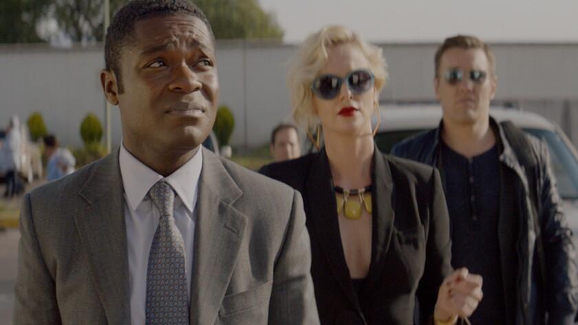 "(L-R) - David Oyelowo, Charlize Theron and Joel Edgerton star in ""GRINGO."" Credit: Amazon Studios"