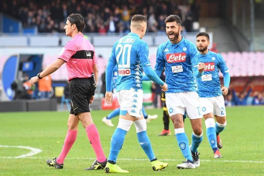 Los jugadores del Nápoles celebran un gol. EFE/EPA