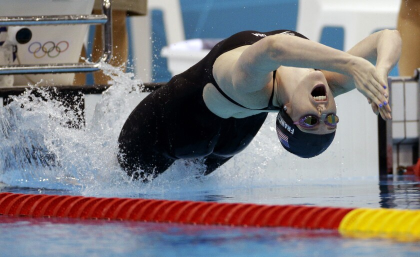 FILE - In this Aug. 3, 2012, file photo, United States' Missy Franklin starts in the women's 200-meter backstroke final at the Aquatics Centre in the Olympic Park during the 2012 Summer Olympics in London. Franklin won a gold medal in the event. (AP Photo/Michael Sohn, File)