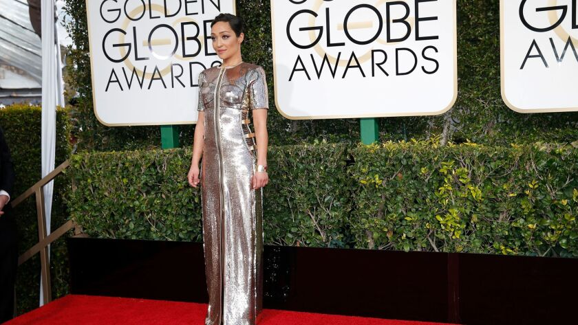 Ruth Negga, a first-time Oscar nominee, arrives at the Golden Globe Awards show on Jan. 8.