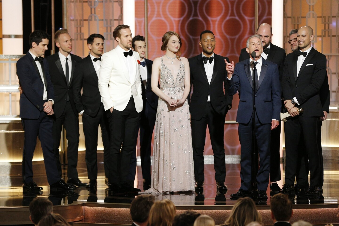 """Producer Marc Platt and the cast and crew of """"La La Land"""" accept the award for Motion Picture - Musical or Comedy for """"La La Land."""""""
