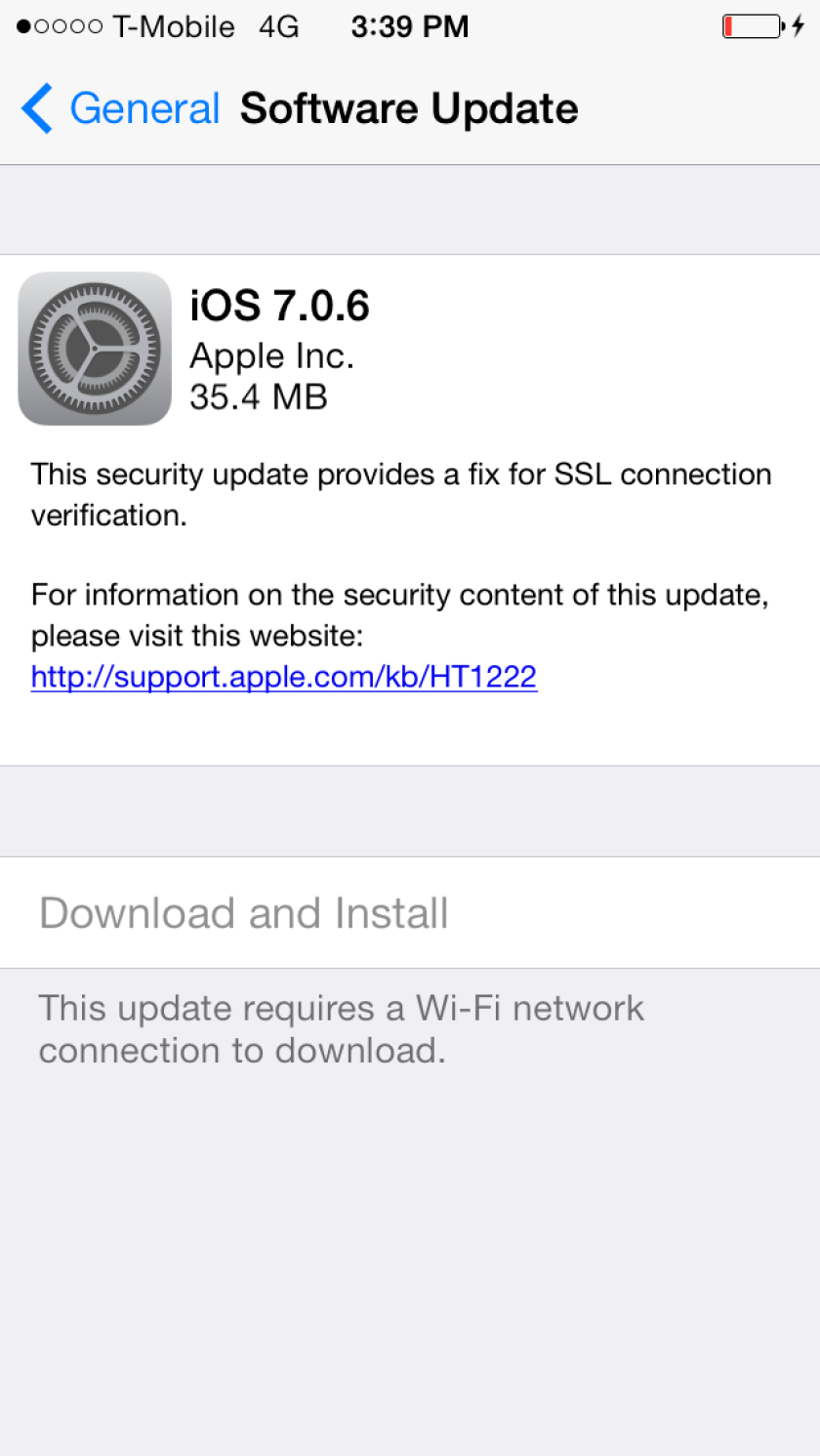"""Apple has released an iOS update designed to fix the """"Gotofail"""" bug."""