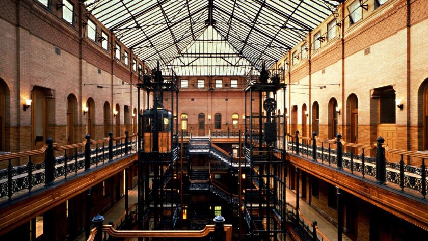 Bradbury Building –– The cleaned and repaired atrium skylight spans the entire five stories Photogra