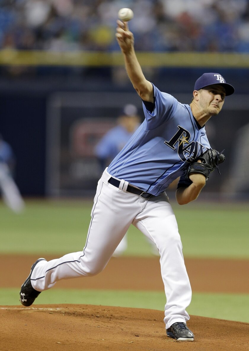 Tampa Bay Rays' Jake Odorizzi pitches to the New York Yankees during the first inning of a baseball game Sunday, May 29, 2016, in St. Petersburg, Fla. (AP Photo/Chris O'Meara)