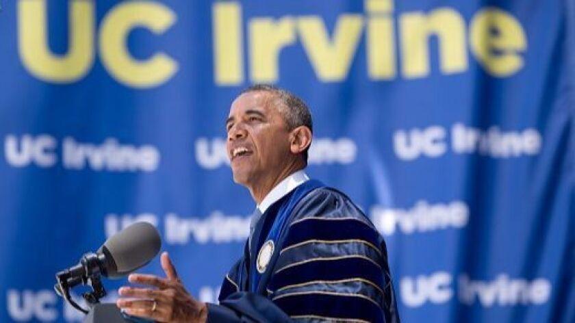 President Barack Obama speaks on climate change during the University of California Irvine commencem